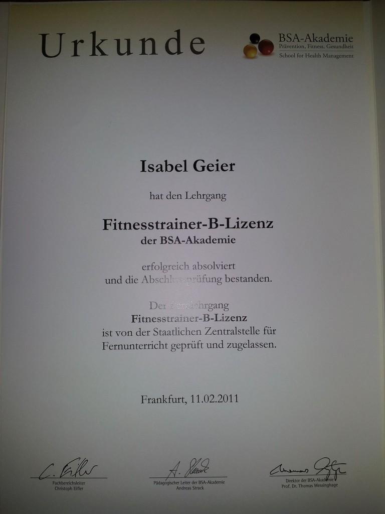 Urkunde Fitnesstrainer-B-Lizenz 2011